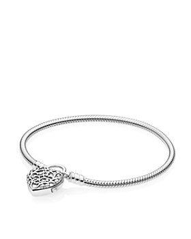 PANDORA - Regal Heart Padlock Sterling Silver Bracelet