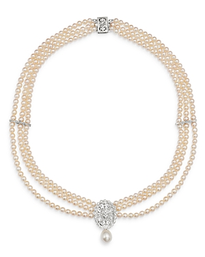 Bloomingdale's Diamond & Cultured Freshwater Pearl Bib Necklace in 14K White Gold, 17 - 100% Exclusi