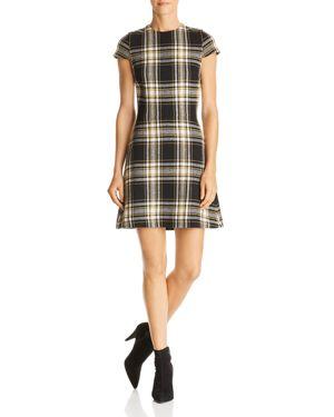 Alice + Olivia Malin Plaid A-Line Dress in Black