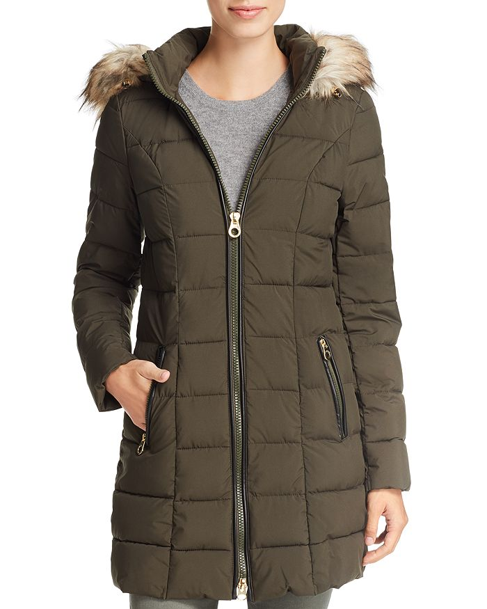 Laundry by Shelli Segal - Faux Fur Trim Hooded Puffer Coat