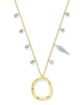 "Meira T - 14K Yellow Gold & 14K White Gold Open Circle Diamond Dangle Pendant Necklace, 18"""