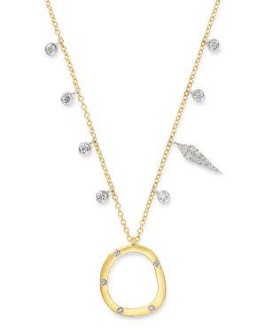 Meira T 14K Yellow Gold & 14K White Gold Open Circle Diamond Dangle Pendant Necklace, 18