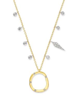 14K Yellow Gold & 14K White Gold Open Circle Diamond Dangle Pendant Necklace