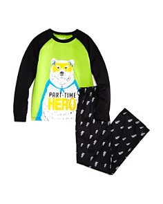 Dream Life - Boys' Part-Time Hero Bear Pajama Shirt & Pants Set - Little Kid, Big Kid
