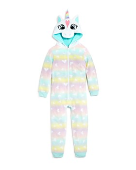 Dream Life - Girls' Heart-Print Fleece Unicorn Coverall - Little Kid, Big Kid
