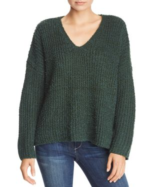 SADIE & SAGE Chunky Ribbed Knit V-Neck Sweater in Emerald Green