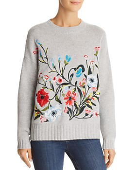C by Bloomingdale's - Embroidered Cashmere Sweater - 100% Exclusive