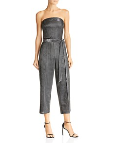 Lucy Paris - Alex Strapless Metallic Cropped Jumpsuit