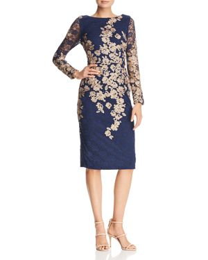 AVERY G Embroidered Lace Dress in Navy/Gold