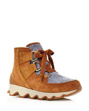 SOREL Women'S Kinetic Almond Toe Waterproof Nylon & Leather High-Top Sneakers in Light Brown