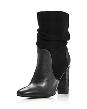 Charles David - Women's Round Toe Leather & Suede High-Heel Booties