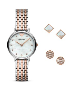 Armani - Stud Earrings & Two-Tone Watch Gift Set, 32mm