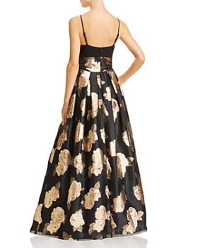 Eliza J - Metallic Floral Ball Gown