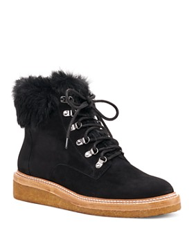 Botkier - Women's Winter Leather & Fur Lace Up Booties