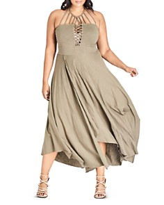 City Chic Plus - Strappy High/Low Maxi Dress