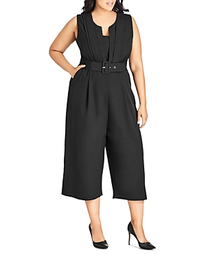 City Chic Plus Veronica Sleeveless Cropped Jumpsuit