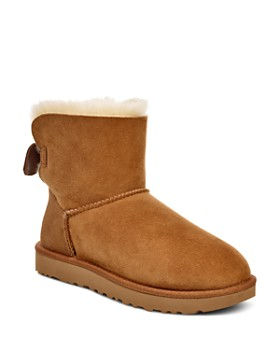UGG® - Women's Mini Bow Round Toe Suede & Sheepskin Boots - 100% Exclusive