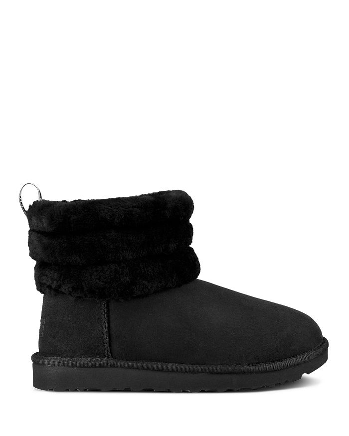 0c150ec9223 Women's Fluff Mini Quilted Round Toe Suede & Sheepskin Booties