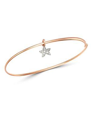 DODO Starfish Charm Diamond Bangle Bracelet in White/Rose Gold