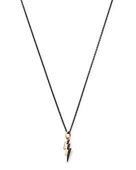 "Dodo - Sterling Silver Lightning Black Diamond Pendant Necklace, 19"""