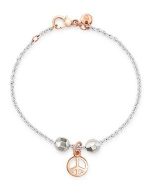 DODO Sterling Silver Peace Charm Bracelet in Rose Gold/White