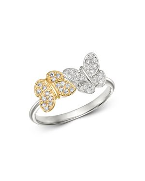 KC DESIGNS 14K White And Yellow Gold Diamond Double Butterfly Ring in White/Multi
