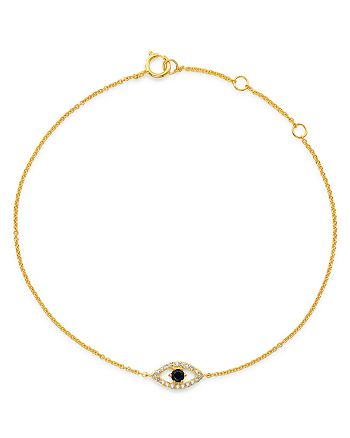 Moon & Meadow - Blue Sapphire & Diamond Evil Eye Adjustable Bracelet in 14K Yellow Gold - 100% Exclusive
