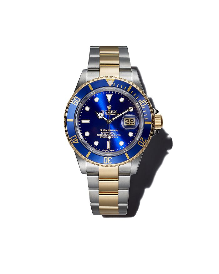 Stainless Steel And 18k Yellow Gold Two Tone Submariner Watch With Blue Dial 40mm