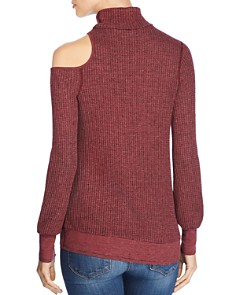 Three Dots - Thermal Cold-Shoulder Turtleneck Sweater