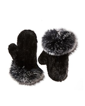 Maximilian Furs - Knit Mink Fur Mittens with Fox Fur Trim