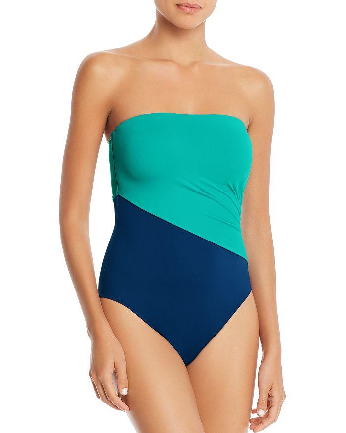 5b4b82b8c6d6 Ralph Lauren Glamour Color-Block Bandeau One Piece Swimsuit ...