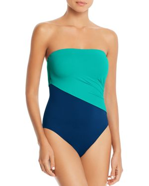 LAURÈN Lauren Ralph Lauren Glamour Color-Block Bandeau One Piece Swimsuit in Sapphire/ Jade