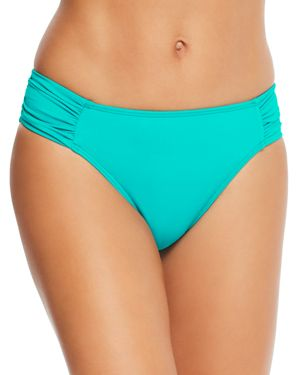 LAURÈN Lauren Ralph Lauren Beach Shirred Tab Hipster Bikini Bottom in Jade