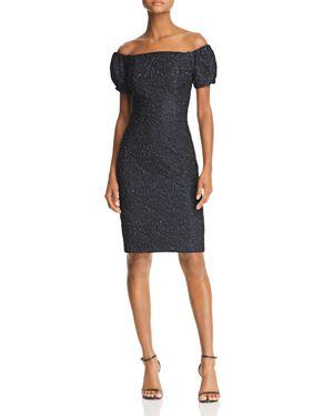 AVERY G Off-The-Shoulder Matelasse Dress in Black/Royal