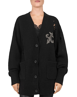 The Kooples EMBELLISHED FLEUR-DE-LIS CARDIGAN