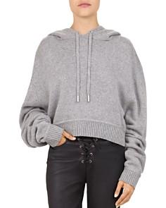 The Kooples - Cropped Hooded Melange Sweater