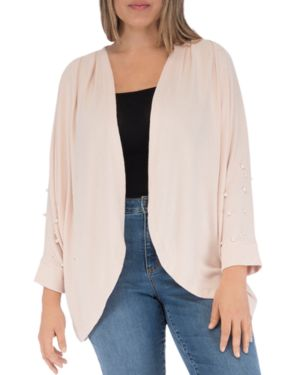 B Collection by Bobeau Curvy Zoey Faux Pearl-Embellished Open Cardigan