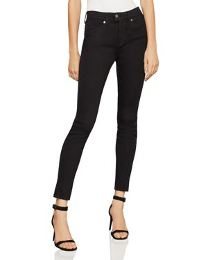 Bcbgmaxazria High-Rise Vented-Hem Skinny Jeans in Blackout