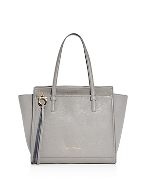 Salvatore Ferragamo Amy Medium Leather Shoulder Bag In Pale Gray Navy Gold