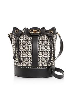 Salvatore Ferragamo - Gancini Medium Jacquard & Leather Bucket Bag