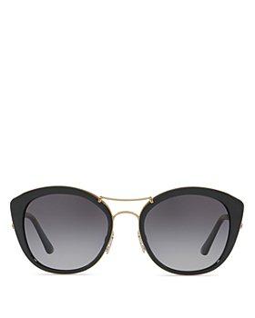 Burberry - Women's Polarized Check Round Sunglasses, 53mm