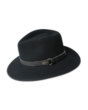 BAILEY OF HOLLYWOOD Bailey Of Hollywood Welt Leather-Trimmed Fedora Hat in Black