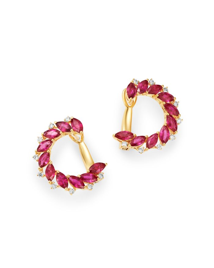 Bloomingdale's Ruby & Diamond Front-to-Back Earrings in 14K Yellow Gold - 100% Exclusive    Bloomingdale's