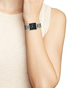 Rosefield - The Boxy Silver-Tone Black Link Bracelet Watch, 26mm x 28mm