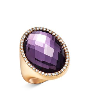 Roberto Coin 18K Rose Gold Amethyst Doublet Cocktail Ring with Diamonds