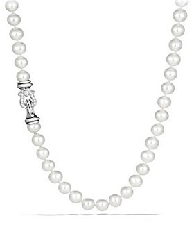 David Yurman - Sterling Silver Pearl Collection Necklace with Diamonds, 18""