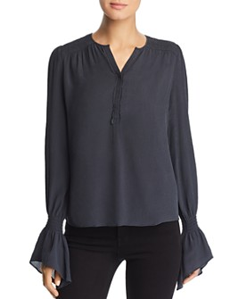 Go by Go Silk - Crinkled Bell Sleeve Blouse