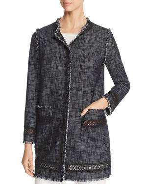 Elie Tahari Shanie Lace Trim Tweed Coat