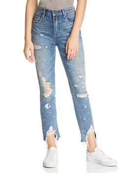 BLANKNYC - Rigid High-Rise Grommet Distressed Straight-Leg Jeans in Bohemian Rap City