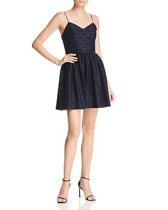 AQUA - Flocked Damask Print Dress - 100% Exclusive